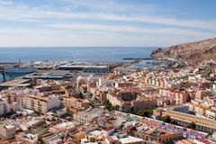 Port of Almeria. View of the port of Almeria from the Alcazaba fortress Stock Photos