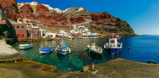 Port Amoudi of Oia or Ia, Santorini, Greece Stock Photo