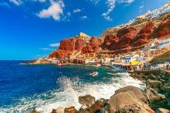 Port Amoudi of Oia or Ia, Santorini, Greece Stock Photos