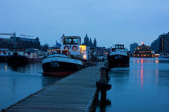 Port of Amsterdam before dawn Stock Photos