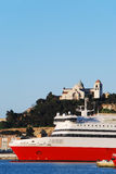 The port of Ancona. With Ancona dome background Royalty Free Stock Image