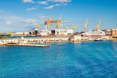 The port of Ancona with ships loaded Royalty Free Stock Photography