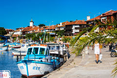 Port And Boats View In Nessebar In Bulgaria Stock Photo