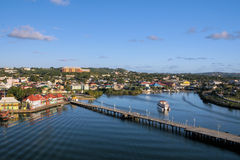 Port of Antigua. Look at Antigua-harbour by sundown whilst leaving with a ship royalty free stock photo