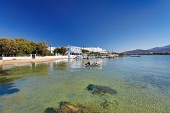 The port of Antiparos island, Greece. A beach at the port of Antiparos island, Greece stock image