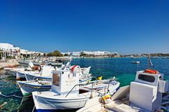 The port of Antiparos island, Greece. Boats at the port of Antiparos island, Greece stock photos