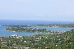 Port Antonop. An  aerial view of Port Antonio in the Parish of Portland Jamaica Stock Images