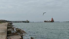 Port Aransas, TX - 5 Feb 2015: Cargo Ship Fagelgracht is heading toward Port Aransas. Port Aransas, TX - 5 Feb 2015: Cargo Ship Fagelgracht is heading toward stock video footage