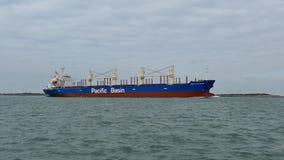Port Aransas, TX - 5 Feb 2015: Cargo Ship Mount Hikurangi is heading out to sea. Port Aransas, TX - 5 Feb 2015: Cargo Ship Mount Hikurangi is heading out to the stock video footage