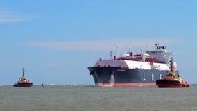 PORT ARANSAS, TX - 22 FEB 2020: The FLEX RANGER, a blue LNG Tanker Ship.