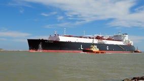 PORT ARANSAS, TX - 22 FEB 2020: The FLEX RANGER, a blue LNG Tanker Ship