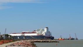 PORT ARANSAS, TX - 21 FEB 2020: The FLEX RANGER, a blue LNG Tanker Ship