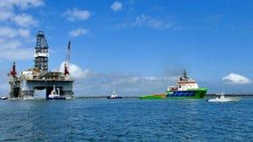 PORT ARANSAS, TX - 05 MAR 2017: Oil Drilling platform being towed stock photography