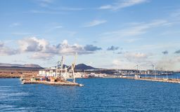 The Port of Arrecife on the Island of Lanzarote. The view towards the port of Arrecife on the Spanish island of Lanzarote Stock Photography