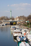 The port of Arsenal. With the Bastille square in the background - Paris, France royalty free stock images