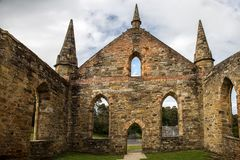 Port Arthur Church Ruins stock photo