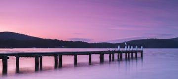 Port Arthur pier and hillside. Port Arthur pier and hillside at dusk in Tasmania, Australia Royalty Free Stock Photos