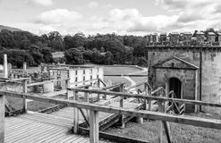 Port Arthur Prison Site. Overlooking guard tower and penitententiary from behind in Port Arthur's historic convict settlement, Tasmania, Australia Royalty Free Stock Image