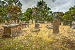Port Arthur: sepulturas e lápides velhas fotos de stock