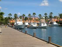 Port on Aruba. In Oranjestad, near hotels and tourist area Royalty Free Stock Photo