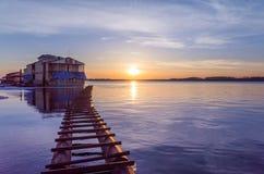 Port au coucher du soleil Images libres de droits