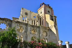 Port au Prince capital city of the Republic of Haiti,. Ruins of the cathedral in the city Port au Prince, Haiti stock photos