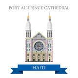 Port au Prince Cathedral in Haiti flat vector illu Royalty Free Stock Photo