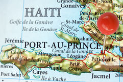 Port-Au-Prince, Haiti. Port-Au-Prince and Haiti on a map with pin Stock Images