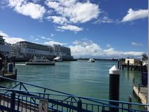 Port in Auckland, NZ. Ferry terminal royalty free stock photography