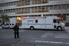 Port Authority Police Mobile Command S.O.D. near terror attack crime scene in lower Manhattan Stock Images