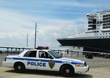 Port Authority Police New York New Jersey providin. NEW YORK CITY - JULY 27: Port Authority Police New York New Jersey providing security for Queen Mary 2 cruise Royalty Free Stock Images