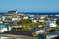 Port aux Basques, Newfoundland. Town of Port aux Basques and its church, Newfoundland royalty free stock photo