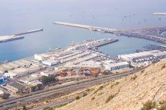 Port av Agadir som ses från över, Marocko Arkivbild