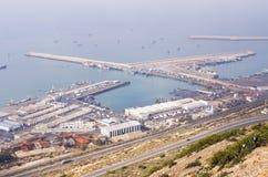 Port av Agadir som ses från över, Marocko Royaltyfri Fotografi