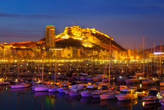 Port av Alicante i natt Royaltyfria Foton