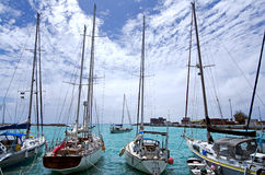 Port av Avatiu - ö av Rarotonga, kock Islands Arkivfoto