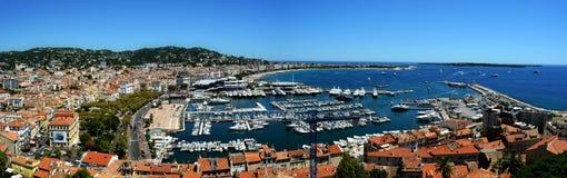 Port av Cannes panorama Arkivbild