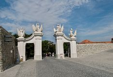 Port av den Bratislava slotten Arkivbild