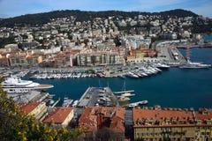 Port av den franska staden av Nice arkivbild