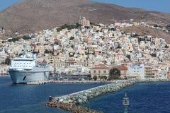 Port av den grekiska ön Royaltyfria Bilder