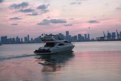 Port av den Miami yachten arkivbild