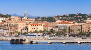 Port av den Propriano semesterortstaden, södra Korsika Royaltyfri Bild