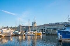 Port av den Seattle Fishermens terminalen fotografering för bildbyråer