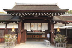 Port av den Shimogamo relikskrin i Kyoto Arkivfoton