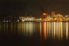 Port av den Vancouver natten Arkivfoton