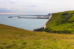 Port av Dover, seascape, sikt från klippan Arkivfoton