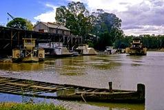 Port av Echuca, Murray River, Victoria, Australien Royaltyfria Bilder