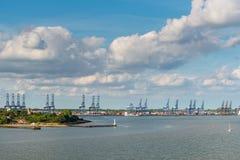 Port av Felixstowe, England, UK Arkivbild