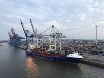 Port av Hamburg, Tyskland Arkivbild