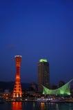 Port av Kobe på natten Fotografering för Bildbyråer